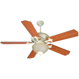 Mia Antique White Distressed Ceiling Fan with 52-Inch Standard Reversible Cherry/Rosewood Blades and Bowl Tea-Stained Light