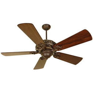 Ophelia Aged Bronze/Vintage Madera Ceiling Fan with 54-Inch Premier Distressed Walnut Blades