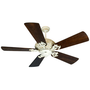 Ophelia Antique White Distressed Ceiling Fan with 54-Inch Premier Hand-Scraped Walnut Blades