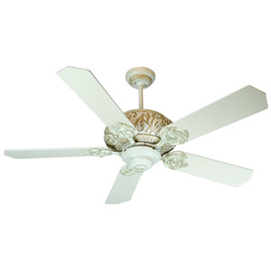 Ophelia Antique White Distressed Ceiling Fan with 52-Inch Standard Antique White Blades