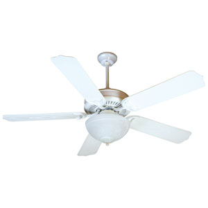 Porch White Ceiling Fan with 52-Inch Outdoor White Blades and Outdoor LED Light Kit