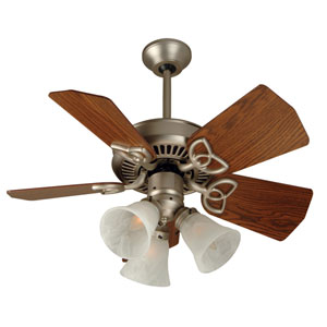 Piccolo Brushed Nickel Ceiling Fan with 30-Inch Piccolo Dark Oak Blades and Fitter/Glass