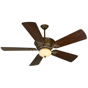 Pavilion Aged Bronze Ceiling Fan with 54-Inch Premier Distressed Walnut Blades