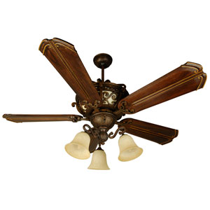 Toscana Peruvian Ceiling Fan with 56-Inch Custom Carved Chamberlain Walnut Blades and LED Light Kit