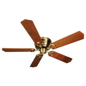 Universal Hugger Antique Brass Ceiling Fan with 52-Inch Custom Wood Walnut Blades