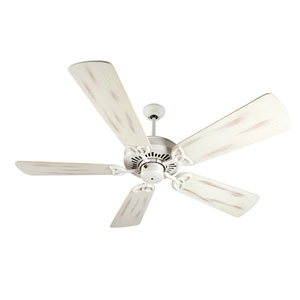 American Tradition Antique White Ceiling Fan with 54-Inch Premier Distressed Antique White Blades