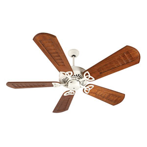 American Tradition Antique White Ceiling Fan with 56-Inch Custom Scalloped Walnut Blades