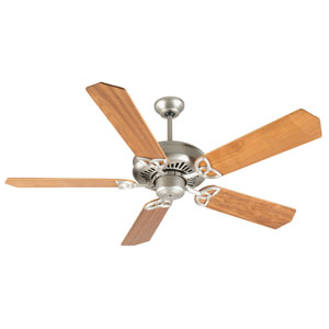 American Tradition Brushed Nickel Ceiling Fan with 52-Inch Custom Wood Walnut Blades