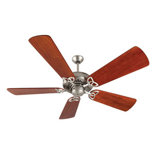 American Tradition Brushed Nickel Ceiling Fan with 54-Inch Premier Hand-Scraped Cherry Blades