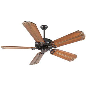 American Tradition Oiled Bronze Ceiling Fan with 56-Inch Custom Carved Chamberlain Oak Blades