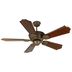 Chaparral Aged Bronze Ceiling Fan with 56-Inch Custom Carved Classic Ebony Blades