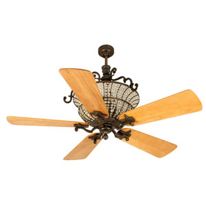 Cortana Peruvian Ceiling Fan with 54-Inch Premier Distressed Oak Blades