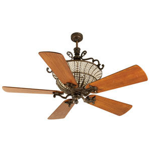 Cortana Peruvian Ceiling Fan with 54-Inch Premier Distressed Teak Blades