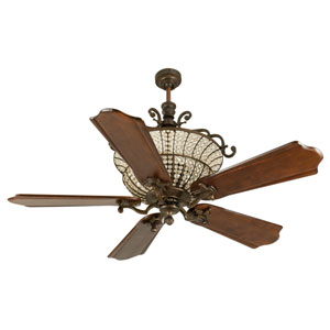 Cortana Peruvian Ceiling Fan with 56-Inch Custom Carved Classic Ebony Blades