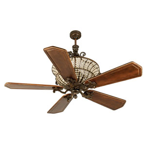 Cortana Peruvian Ceiling Fan with 56-Inch Custom Carved Ophelia Walnut/Vintage Madera Blades