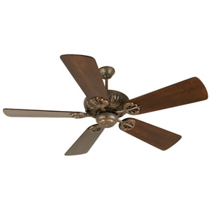 Cordova Aged Bronze Ceiling Fan with 54-Inch Premier Distressed Walnut Blades