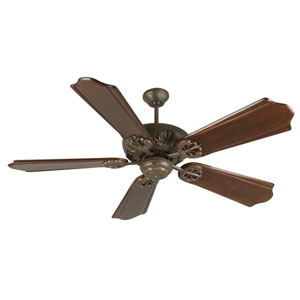 Cordova Aged Bronze Ceiling Fan with 56-Inch Custom Carved Classic Ebony Blades