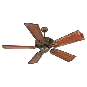 Cordova Aged Bronze Ceiling Fan with 56-Inch Custom Carved Wellington Mahogany Blades