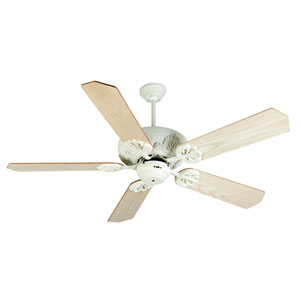 Cordova Antique White Ceiling Fan with 52-Inch Standard Ash Wood Unfinished Blades