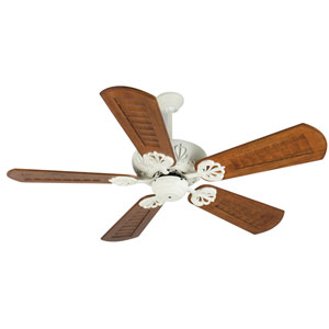 Cordova Antique White Ceiling Fan with 56-Inch Custom Scalloped Walnut Blades