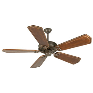 CXL Aged Bronze Ceiling Fan with 56-Inch Custom Carved Ophelia Walnut/Vintage Madera Blades