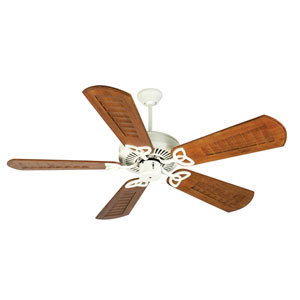CXL Antique White Ceiling Fan with 56-Inch Custom Scalloped Walnut Blades