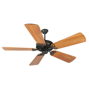 CXL Flat Black Ceiling Fan with 54-Inch Premier Hand-Scraped Teak Blades