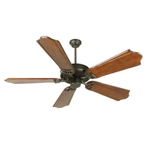 CXL Flat Black Ceiling Fan with 56-Inch Custom Carved Classic Ebony Blades
