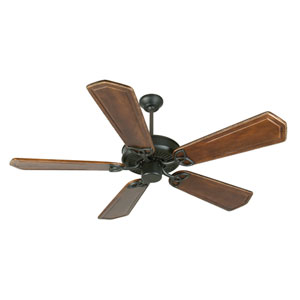 CXL Flat Black Ceiling Fan with 56-Inch Custom Carved Ophelia Walnut/Vintage Madera Blades
