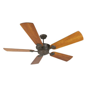 DC Epic Aged Bronze Ceiling Fan with 70-Inch Premier Hand-scraped Teak Blades