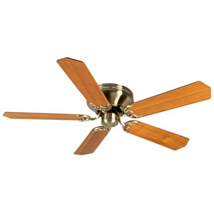 Contemporary Flushmount Antique Brass Ceiling Fan with 52-Inch Custom Wood Teak Blades
