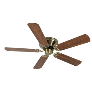 Contemporary Flushmount Antique Brass Ceiling Fan with 52-Inch Plus Series Walnut Blades