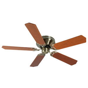 Contemporary Flushmount Antique Brass Ceiling Fan with 52-Inch Custom Wood Cherry Blades