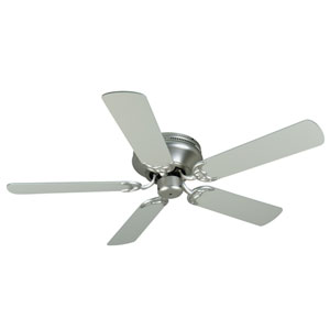 Contemporary Flushmount Brushed Nickel Ceiling Fan with 52-Inch Plus Series Brushed Nickel Blades