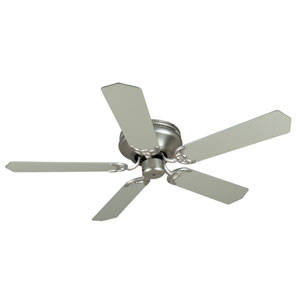 Contemporary Flushmount Brushed Nickel Ceiling Fan with 52-Inch Standard Brushed Nickel Blades