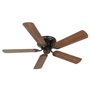 Contemporary Flushmount Oiled Bronze Ceiling Fan with 52-Inch Plus Series Walnut Blades
