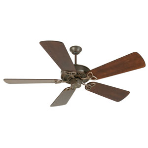 CXL Aged Bronze Ceiling Fan with 54-Inch Premier Distressed Walnut Blades