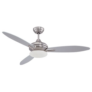 Loris Stainless Steel 52-Inch One-Light Ceiling Fan with Three Blades