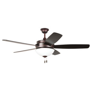Layton Oiled Bronze 52-Inch Three-Light Ceiling Fan with Five Blades