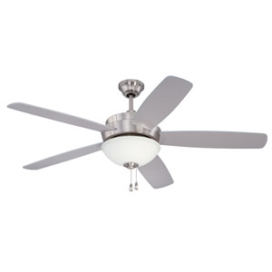 Layton Stainless Steel 52-Inch Three-Light Ceiling Fan with Five Blades