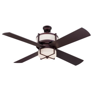 Midoro Oiled Bronze 56-Inch Two-Light Ceiling Fan with Four Blades