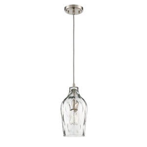 Brushed Polished Nickel 7-Inch One-Light Mini Pendant with White Opal Glass