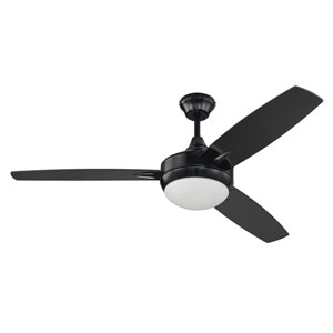 Targas Gloss Black 52-Inch LED Ceiling Fan with Three Blades