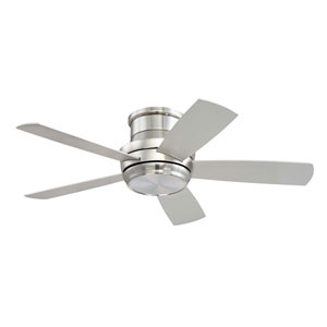 Tempo Brushed Polished Nickel 44-Inch LED Ceiling Fan with Five Blades