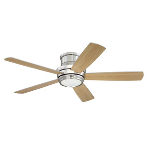 Tempo Brushed Polished Nickel 52-Inch LED Ceiling Fan with Five Blades