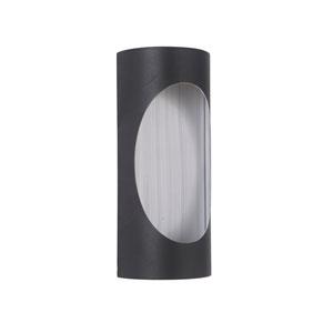 Ellipse Matte Black and Brushed Aluminum 11-Inch Outdoor LED Pocket Sconce