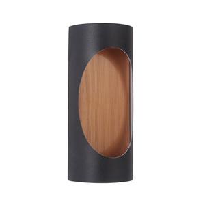 Ellipse Matte Black and Satin Brass 11-Inch Outdoor LED Pocket Sconce