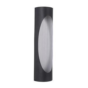 Ellipse Matte Black and Brushed Aluminum 18-Inch Outdoor LED Pocket Sconce