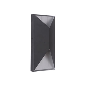 Peak Matte Black and Brushed Aluminum 10-Inch Outdoor LED Pocket Sconce
