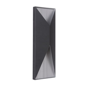 Peak Matte Black and Brushed Aluminum 14-Inch Outdoor LED Pocket Sconce